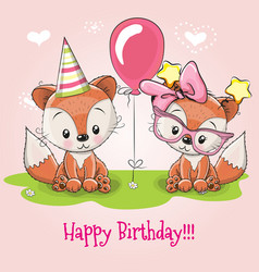 Greeting card two cute cartoon foxes vector