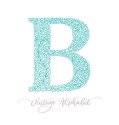 hand drawn b letter calligraphy vintage logo vector image