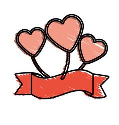 Hearts decoration ribbon ornament vector