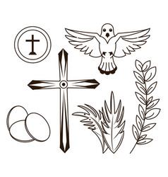 Holy week icons vector