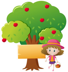 little girl and red apple tree vector image