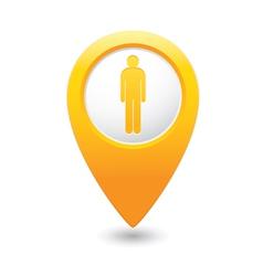 Man map pointer yellow vector