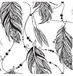 monochrome seamless pattern from feathers of birds vector image