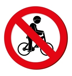 No bycicle prohibited sign vector