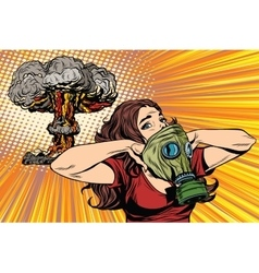 Nuclear explosion radiation hazard gas mask girl vector