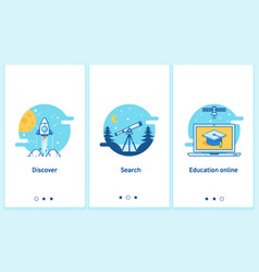 online education concept in thin flat linear vector image