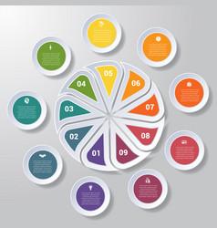 Pie chart or area chart diagram infographics nine vector