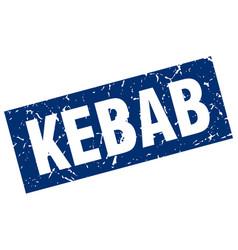 Square grunge blue kebab stamp vector
