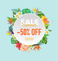 Summer sale tropical flowers banner vector