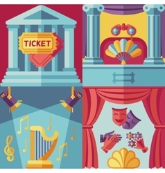 Theatre acting concept background in flat vector image