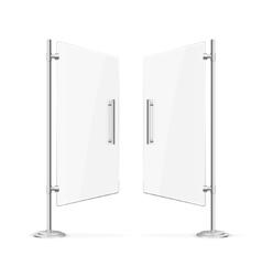 Transparent Glass Door Open with Steel Handles vector image