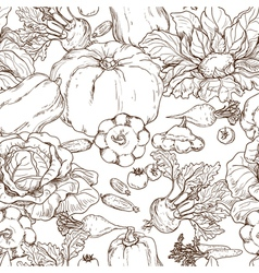 Vegetables pattern outline vector image vector image