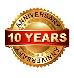 10 years anniversary golden label with ribbon vector