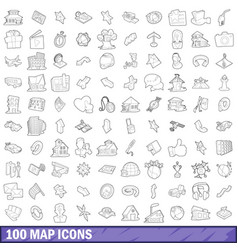 100 map icons set outline style vector