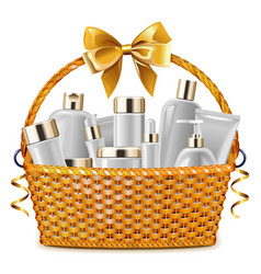 Gift basket with cosmetic packaging vector