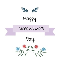 Valentine Day card Birds with flowers vector image