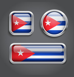 Cuba flag glass buttons vector