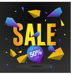 Sale 50 off poster with abstract triangle vector