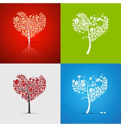 Abstract heart-shaped tree set on green red white vector