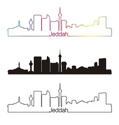 Jeddah skyline linear style with rainbow vector image