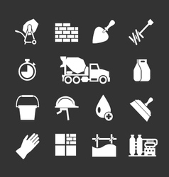 Set icons of cement and concrete vector