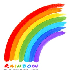 Rainbow watercolor brush smears vector