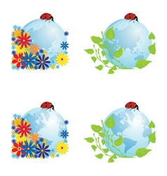 set of globes with ladybird vector image