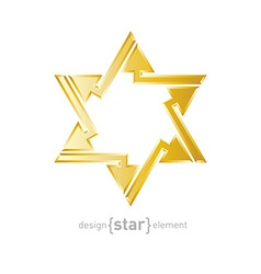 Abstract design element golden star of david with vector