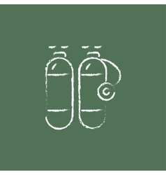Oxygen tank icon drawn in chalk vector