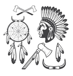 American indian clipart icons and elements vector