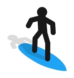 Surfer icon in isometric 3d style vector