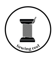 Sewing reel with thread icon vector