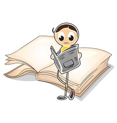 A girl reading in front of a big book vector image