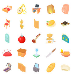 At home icons set cartoon style vector