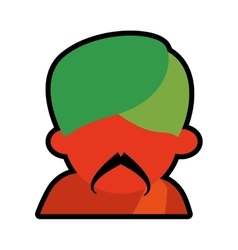 Avatar face indian man mustache green turban icon vector