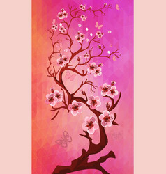 Beautiful cherry blossom on triangle background vector