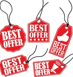 Best offer red tag set vector