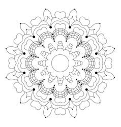 black and white circular flower mandala vector image vector image