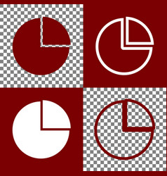 Business graph sign bordo and white icons vector