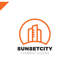 City in sun icon logo design element vector
