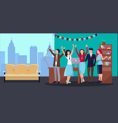 Corporate party in office vector