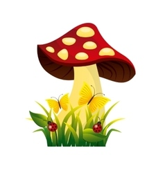 Cute drawing fairy mushroom vector