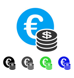 Euro and dollar coins flat icon vector