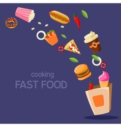 Fast food flying in paper bag vector