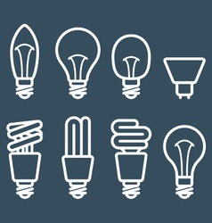 Fluorescent lamp and light bulb icons vector image vector image