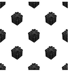 Gift icon in black style isolated on white vector
