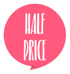 half pirce tag red color isolated on white vector image vector image