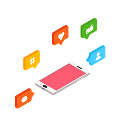 isometric social networking internet concept vector image vector image