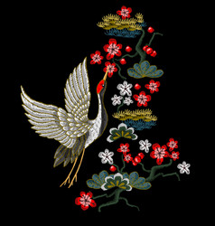 japanese white cranes with red flowers vector image