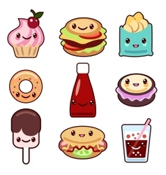 Kawaii fast food and fruit vector image vector image